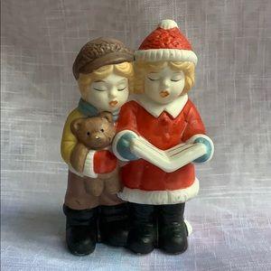 "3.5"" ceramic Carolers boy girl Christmas decor Vtg"